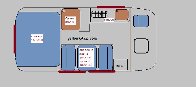 планировка салона автодома кавз 4х4