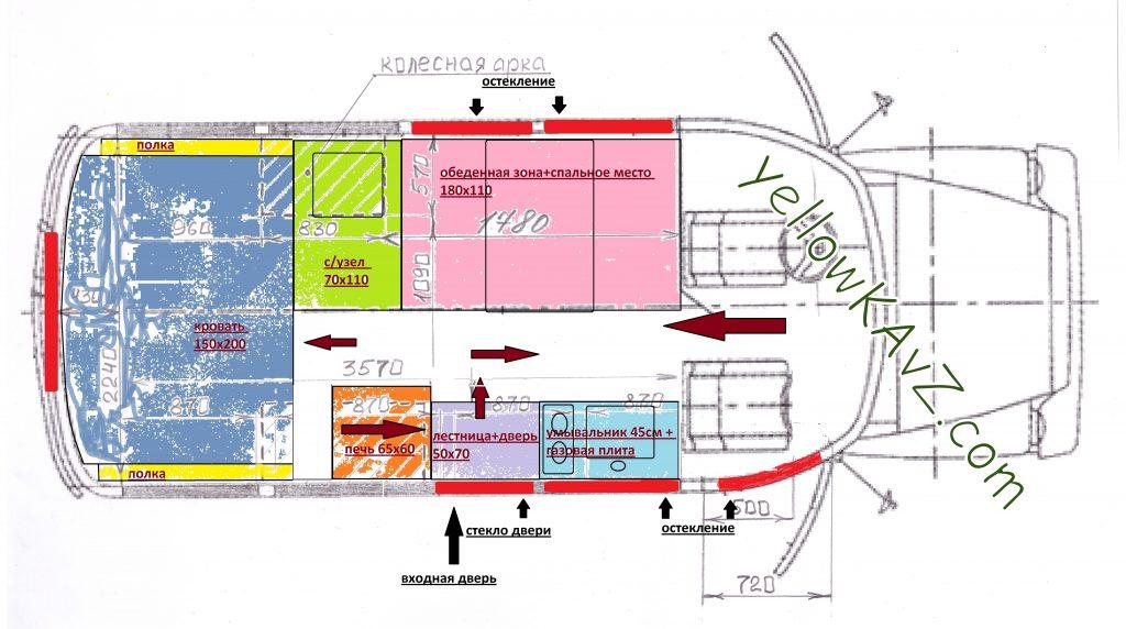 детальная планировка салона автодома